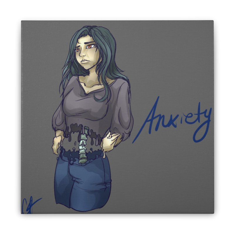 Anxiety is a Beast Home Stretched Canvas by Magpies and Pigeons