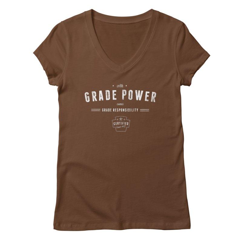 With Grade Power Shirt Women's Regular V-Neck by Certified Comic Shop
