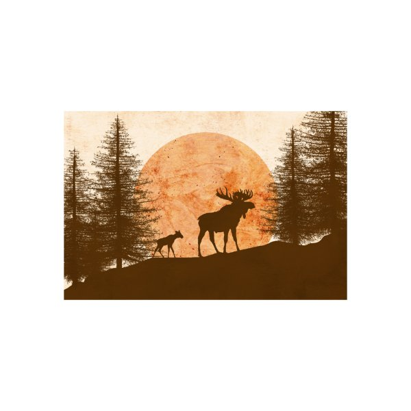 image for Mother moose and her cub in the mountains at sunset