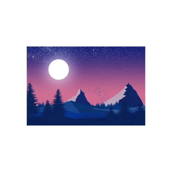 image for The moonlight over the mountains and the forest