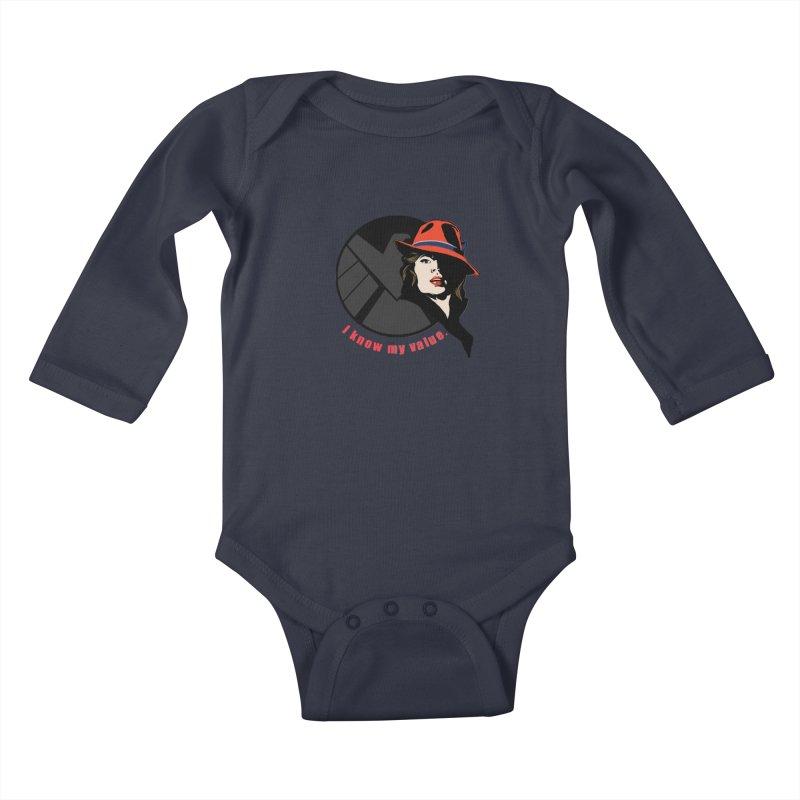 Agent of Value Kids Baby Longsleeve Bodysuit by CFDunbar Designs