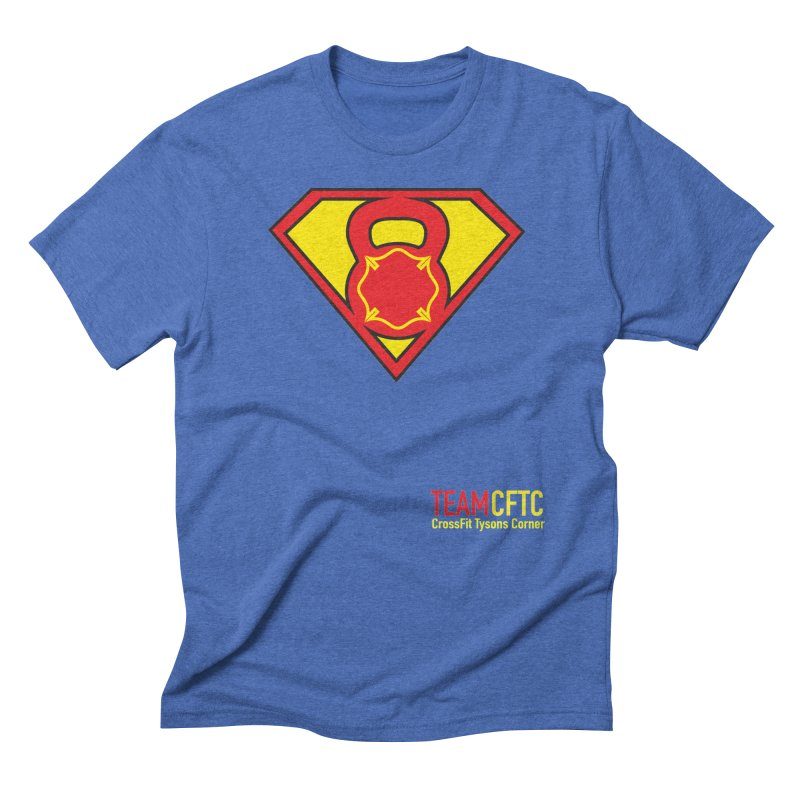 Team CFTC Small Text in Men's Triblend T-Shirt Blue Triblend by CrossFit Tysons Corner Apparel