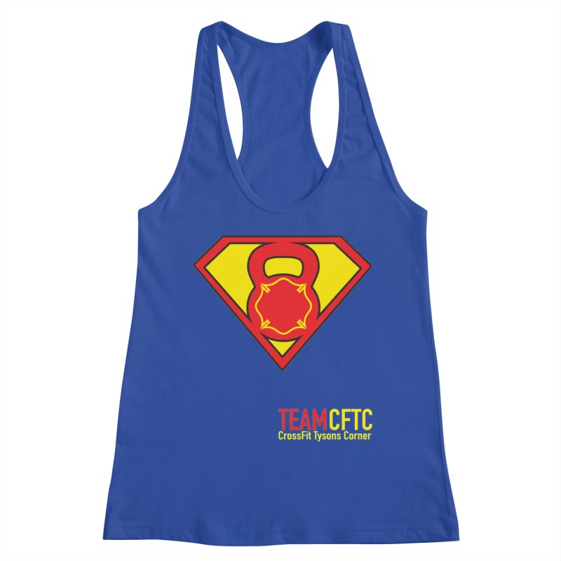 Team CFTC - Text Offset - Women Only in Women's Racerback Tank Royal Blue by CrossFit Tysons Corner Apparel