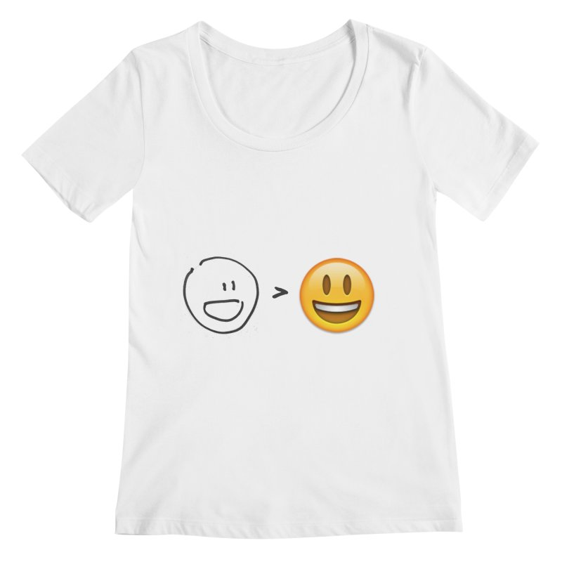 simple drawing vs graphics Women's Scoopneck by chalkmotion's Shop