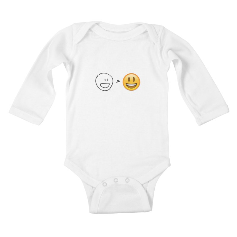 simple drawing vs graphics Kids Baby Longsleeve Bodysuit by chalkmotion's Shop