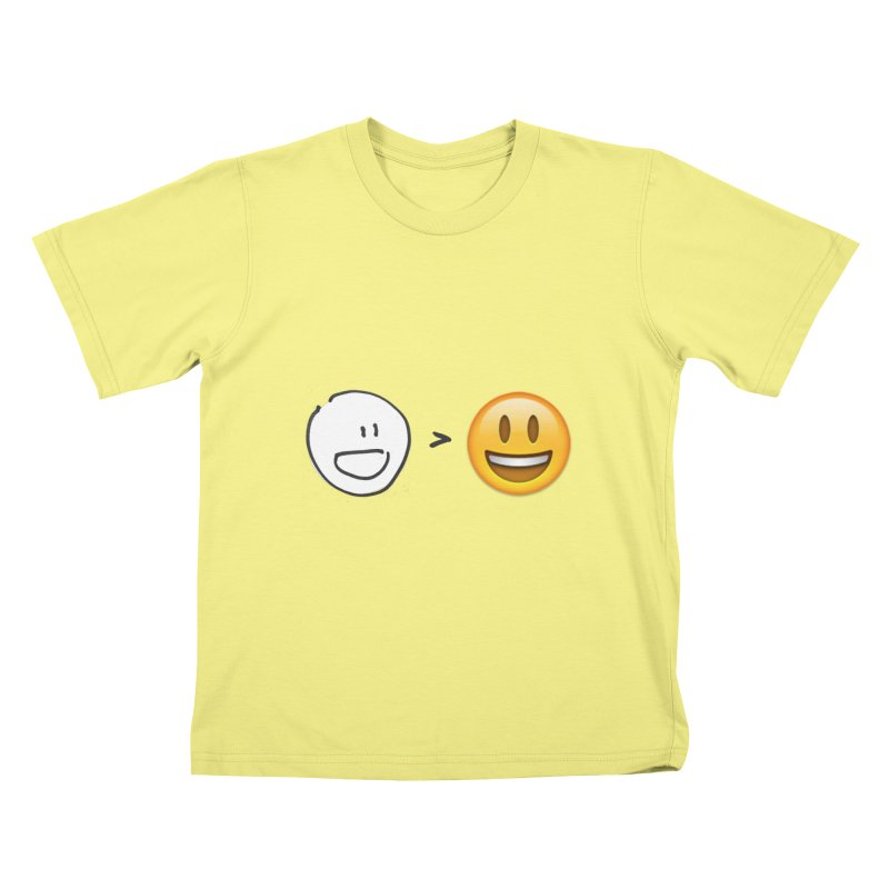 simple drawing vs graphics in Kids T-shirt Canary by chalkmotion's Shop