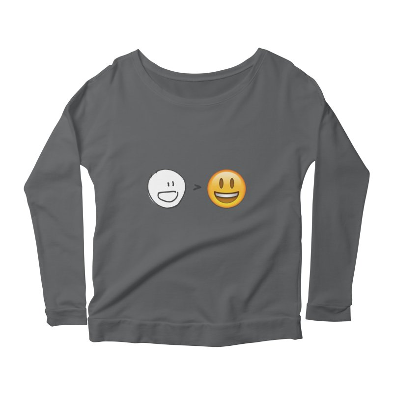 simple drawing vs graphics Women's Scoop Neck Longsleeve T-Shirt by chalkmotion's Shop