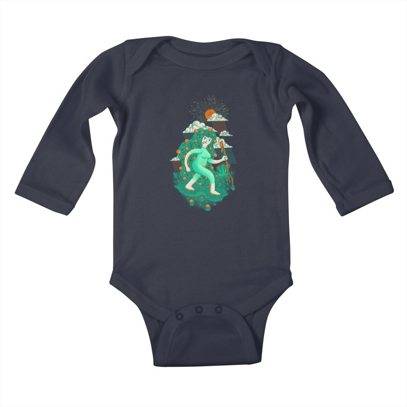 Orange Rain Kids Baby Longsleeve Bodysuit by chamuko's Artist Shop