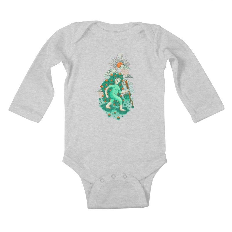 Orange Rain Kids Baby Longsleeve Bodysuit by chamuko's Artist Shop