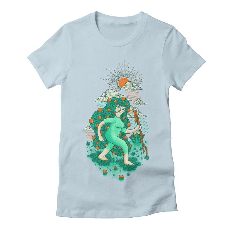 Orange Rain Women's Fitted T-Shirt by chamuko's Artist Shop