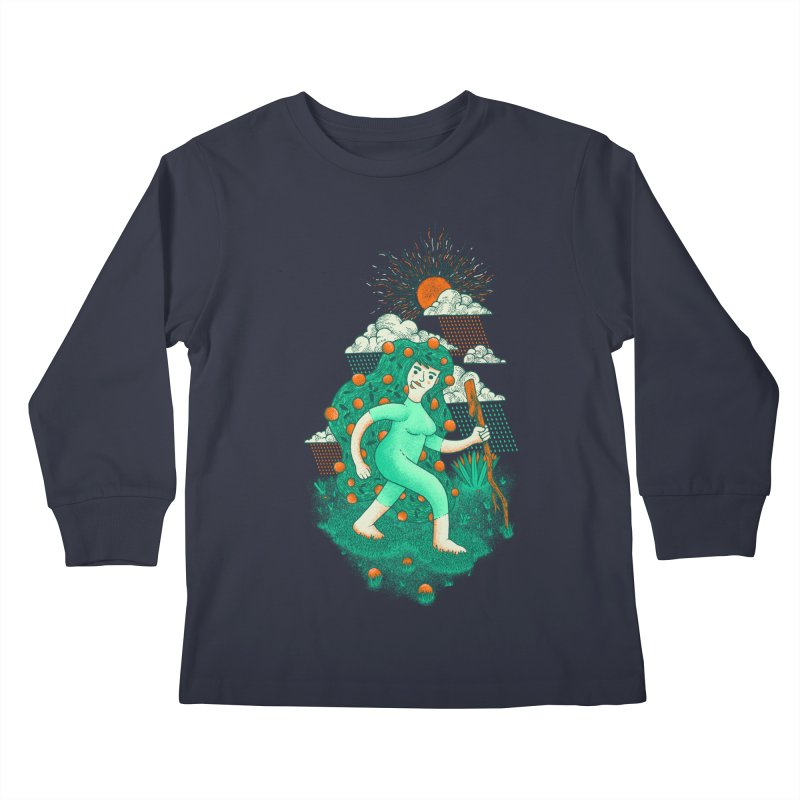 Orange Rain Kids Longsleeve T-Shirt by chamuko's Artist Shop