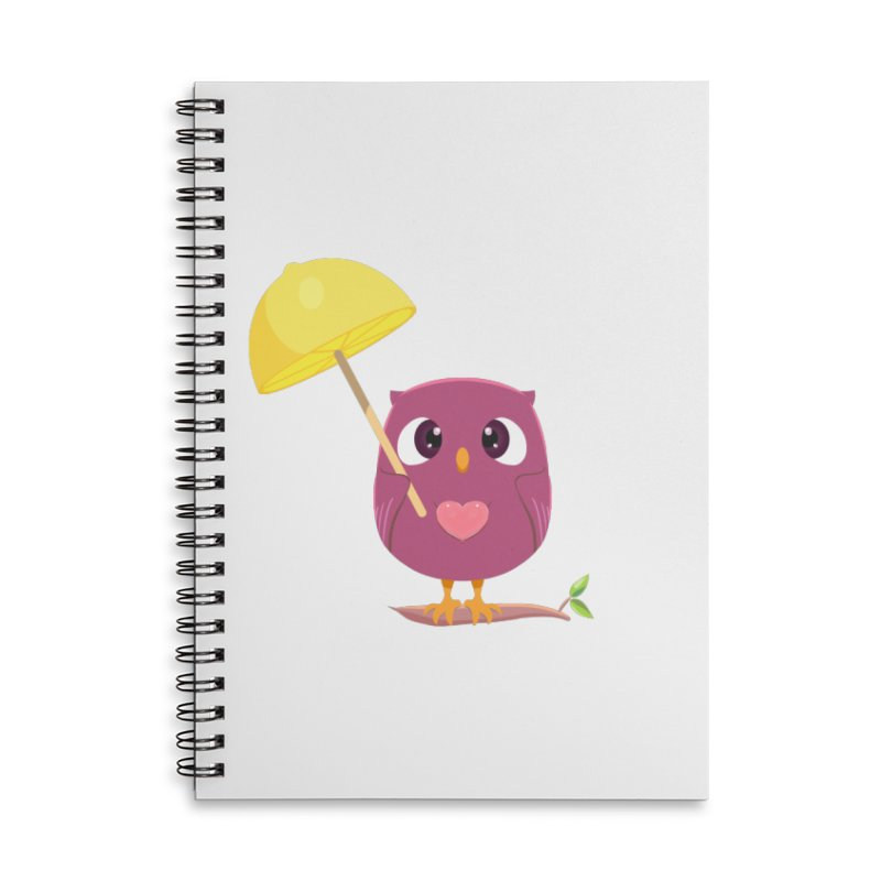 Lemon-brella Owl Accessories Lined Spiral Notebook by Character Issues Shop