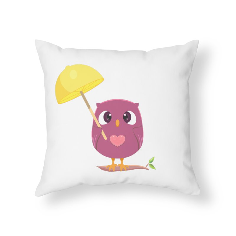 Lemon-brella Owl Home Throw Pillow by Character Issues Shop