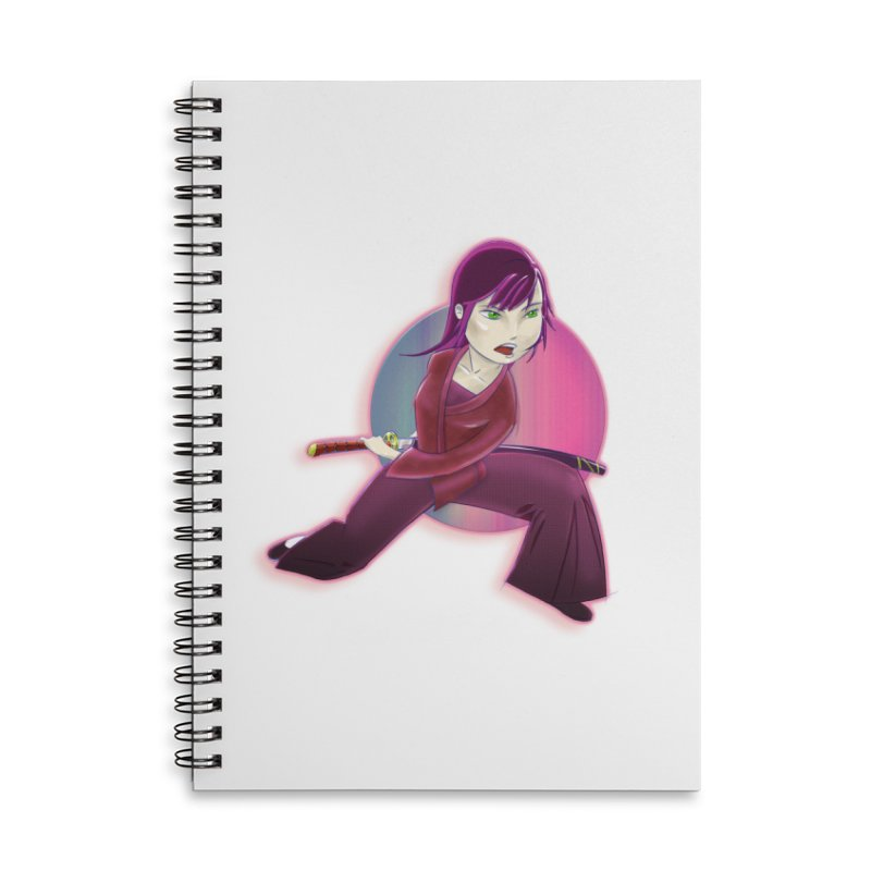 A Girl, a Sword, a Circle Accessories Lined Spiral Notebook by Character Issues Shop