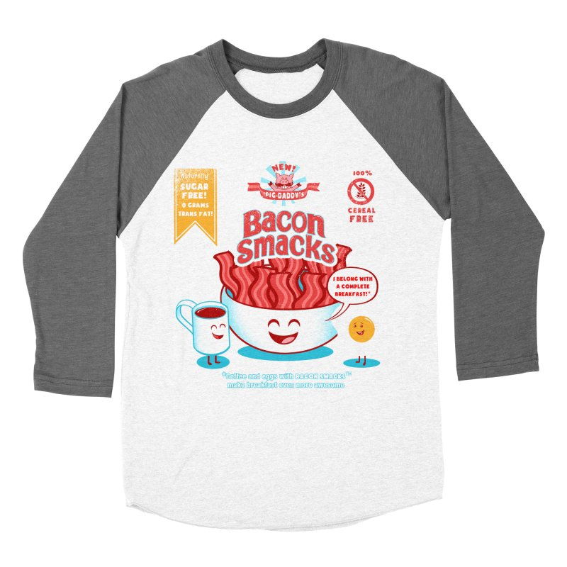 Bacon Smacks Men's Baseball Triblend T-Shirt by Charity Ryan