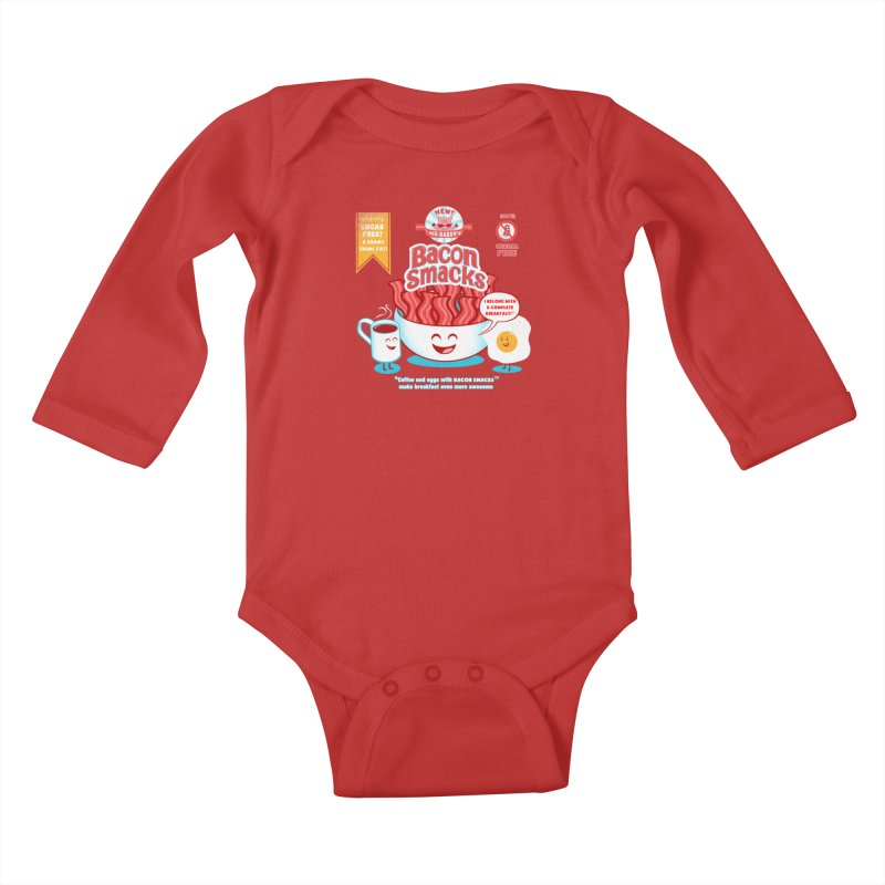 Bacon Smacks Kids Baby Longsleeve Bodysuit by Charity Ryan