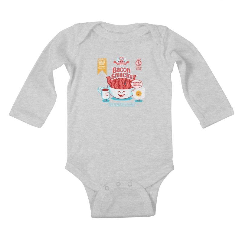 Bacon Smacks Kids Baby Longsleeve Bodysuit by Charity Ryan