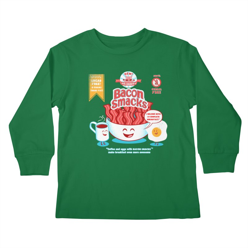 Bacon Smacks Kids Longsleeve T-Shirt by Charity Ryan