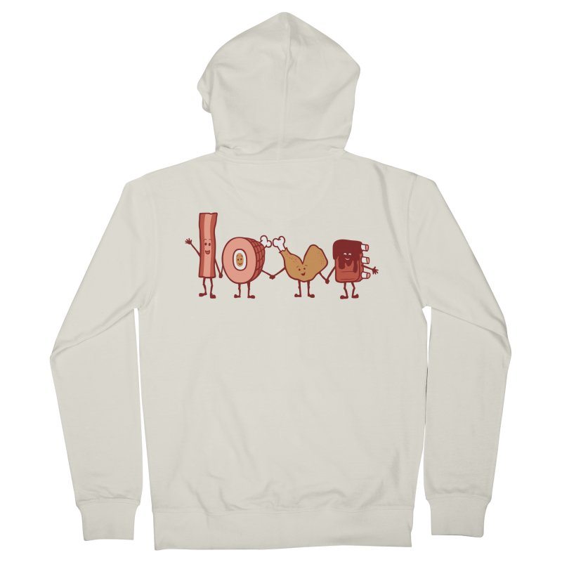Meat Love U Men's Zip-Up Hoody by Charity Ryan