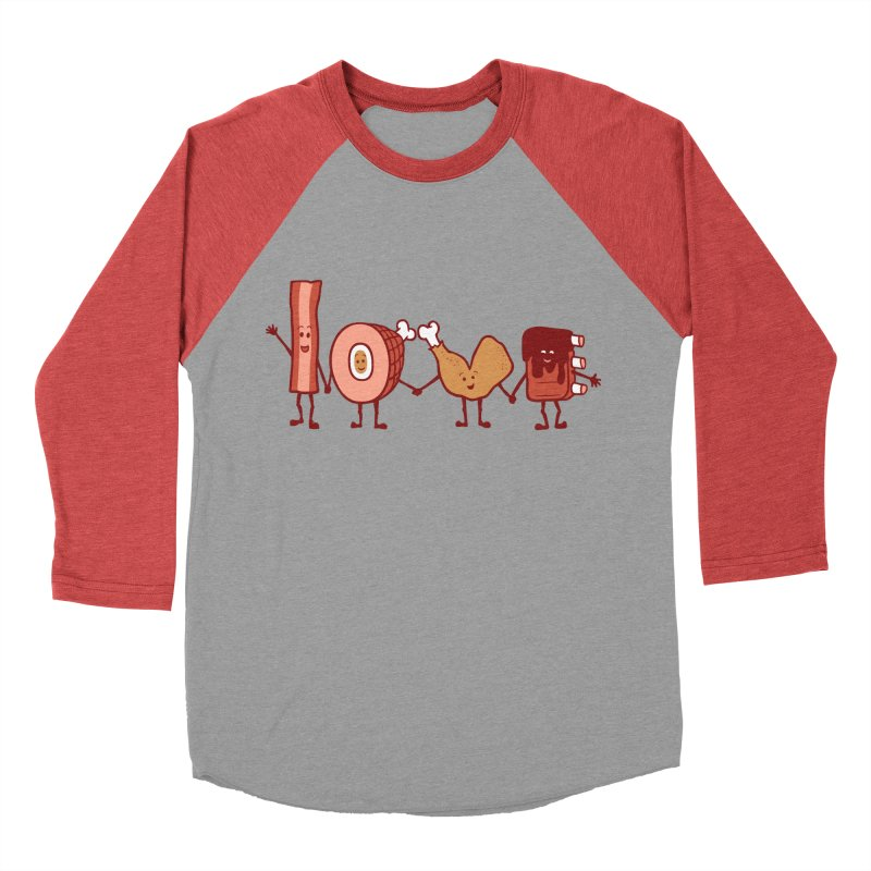 Meat Love U Men's Baseball Triblend T-Shirt by Charity Ryan