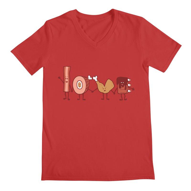 Meat Love U Men's V-Neck by Charity Ryan