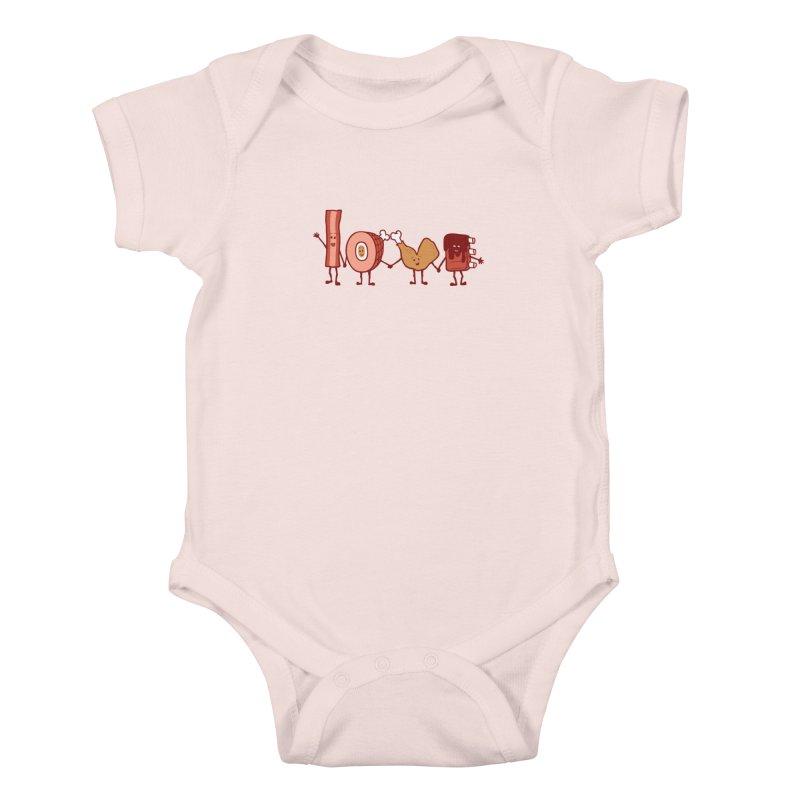 Meat Love U Kids Baby Bodysuit by Charity Ryan