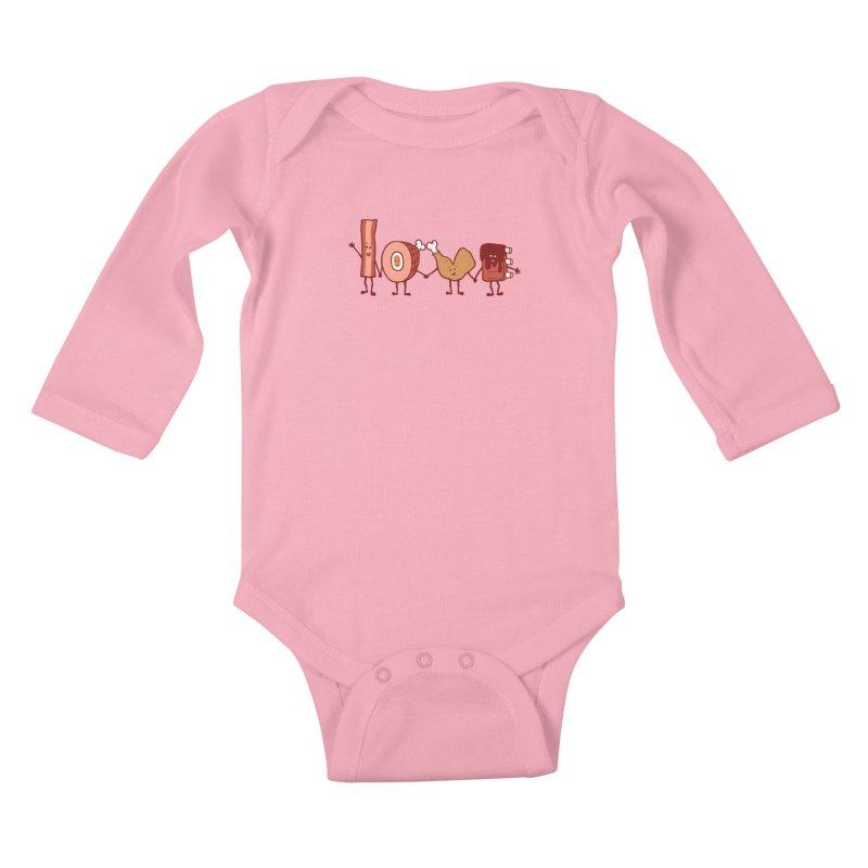 Meat Love U Kids Baby Longsleeve Bodysuit by Charity Ryan