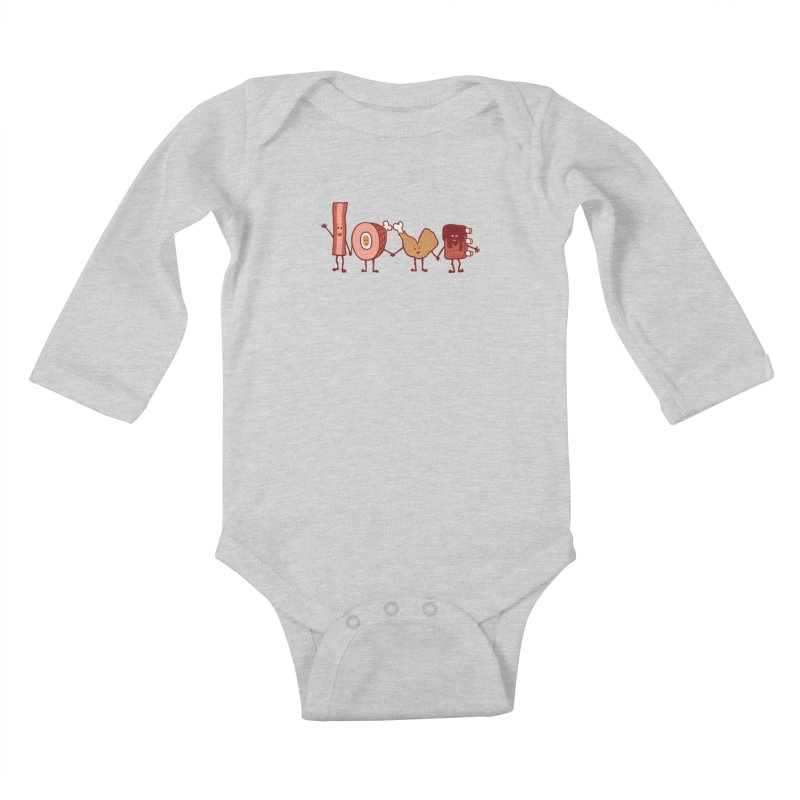 Meat Love U Kids Baby Longsleeve Bodysuit by Charity Ryan