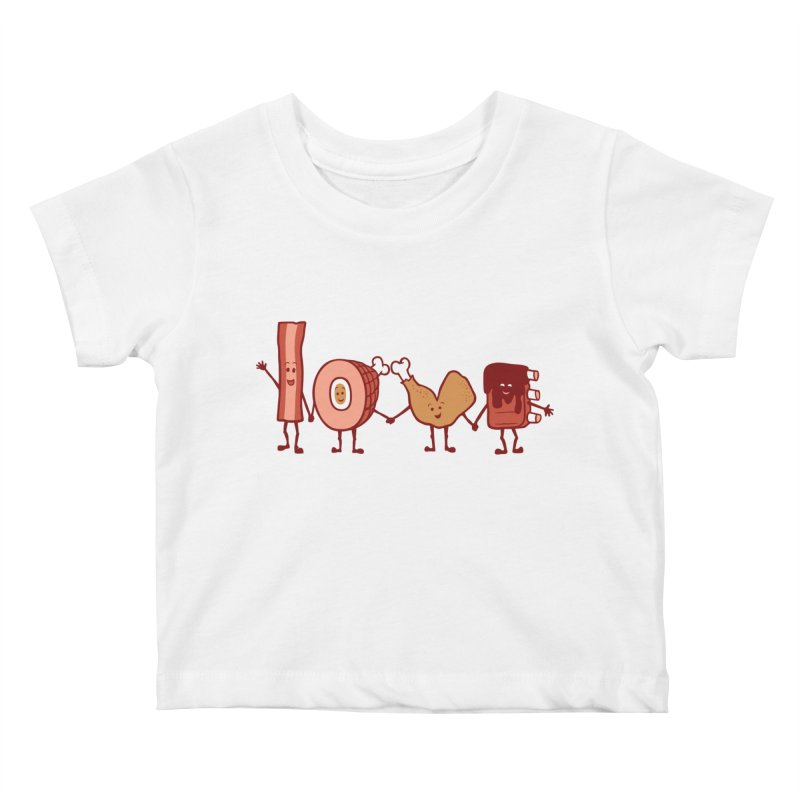 Meat Love U Kids Baby T-Shirt by Charity Ryan