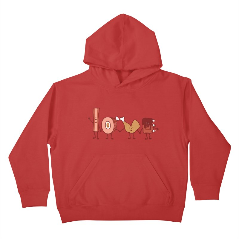 Meat Love U Kids Pullover Hoody by Charity Ryan