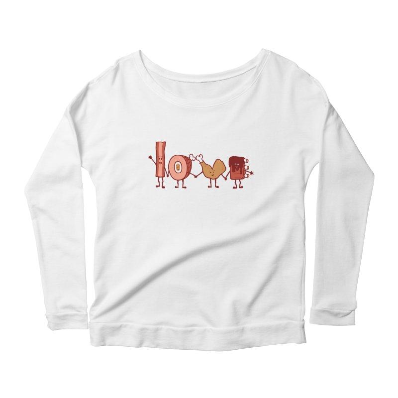 Meat Love U Women's Longsleeve Scoopneck  by Charity Ryan