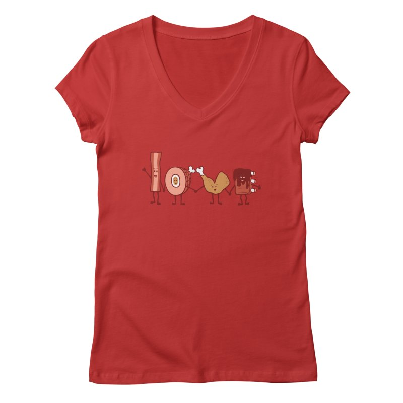 Meat Love U Women's V-Neck by Charity Ryan