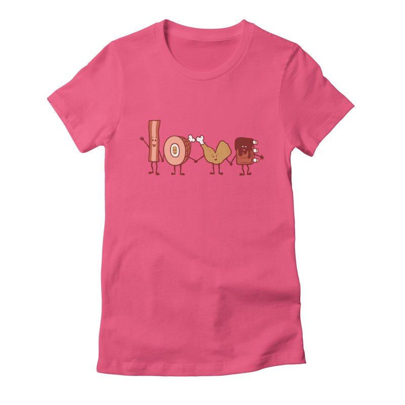 Meat Love U Women's Fitted T-Shirt by Charity Ryan