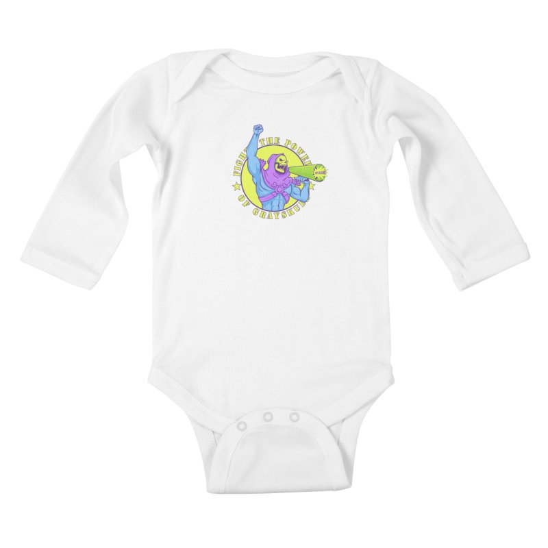 Public Enemy of Eternia Kids Baby Longsleeve Bodysuit by Charity Ryan
