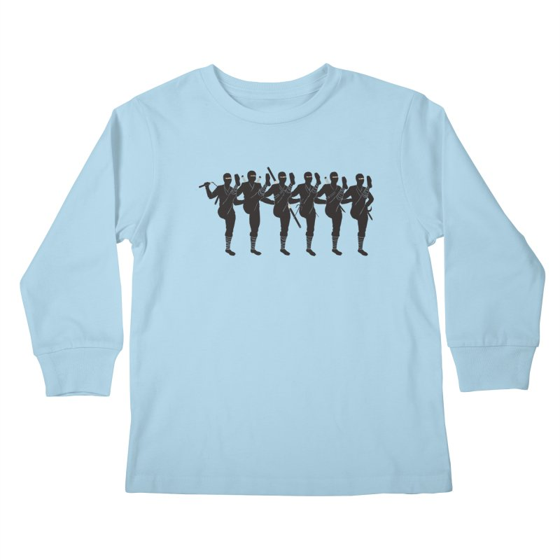 Ninja Kickline Kids Longsleeve T-Shirt by Charity Ryan