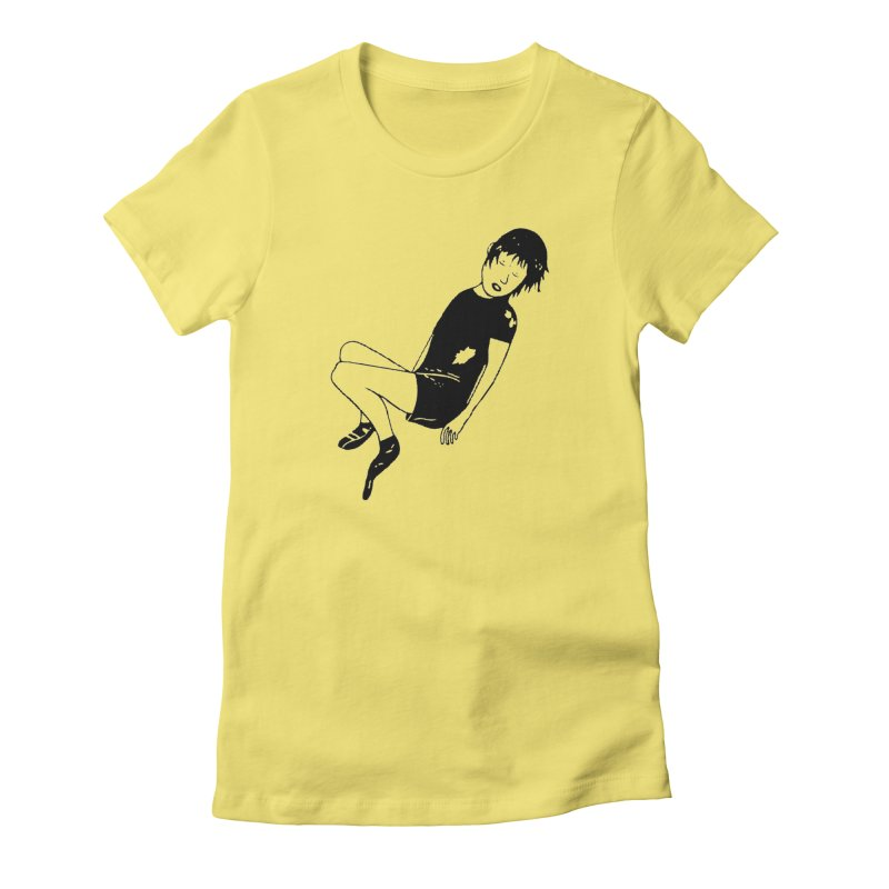 Attention à ton bas in Women's Fitted T-Shirt Light Yellow by Chaudaille