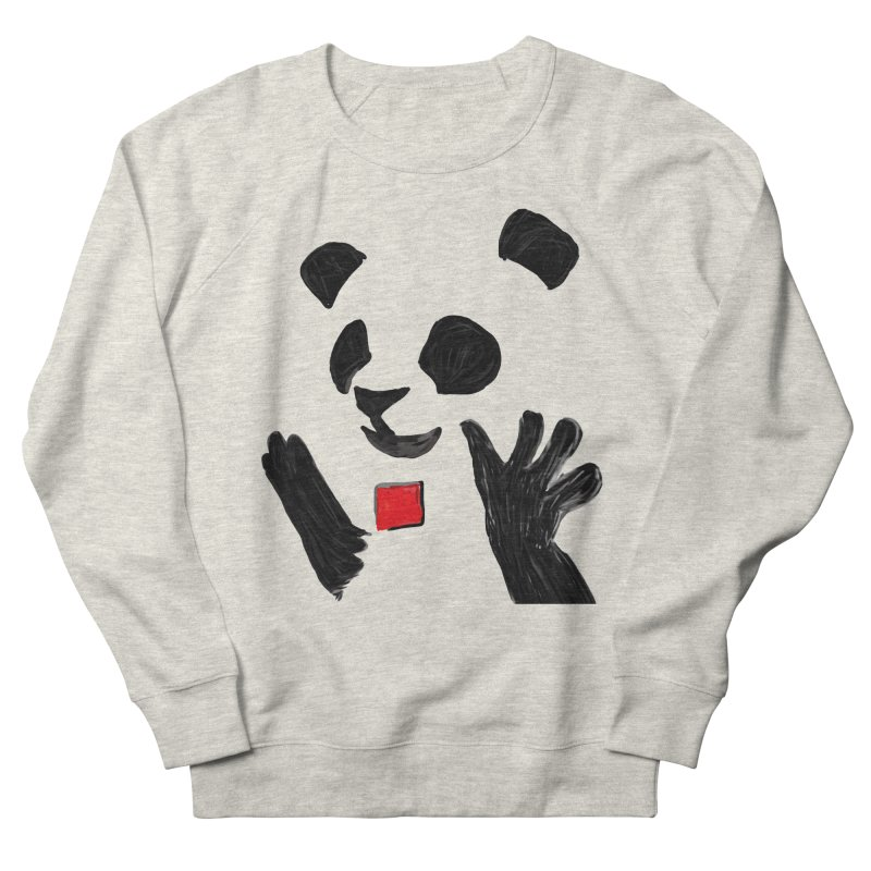 Anarcho Panda in Men's French Terry Sweatshirt Heather Oatmeal by Chaudaille
