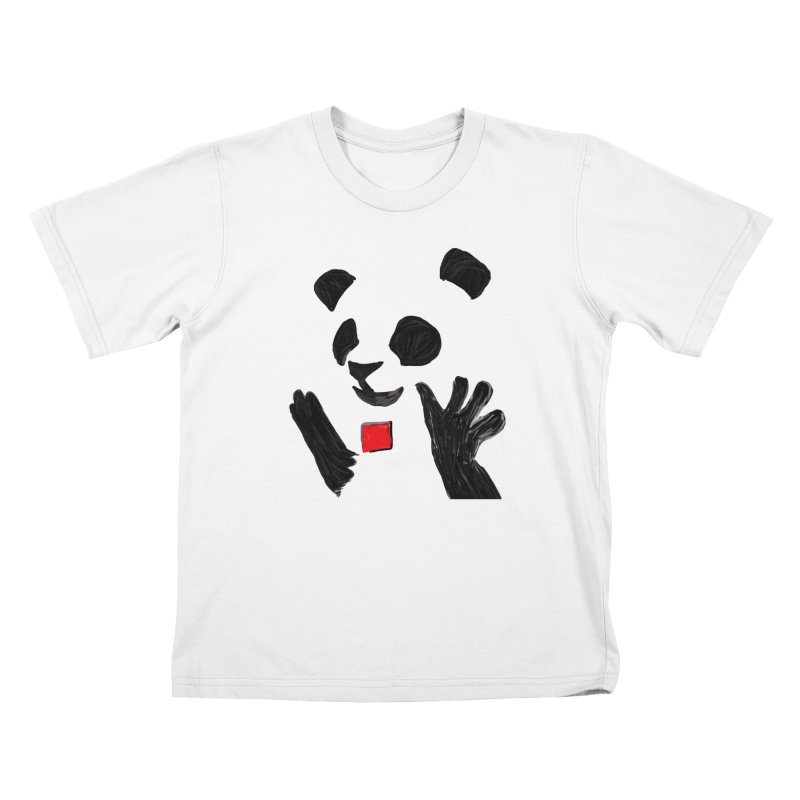 Anarcho Panda in Kids T-Shirt White by Chaudaille