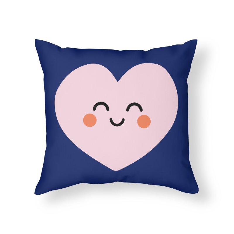 Kawaii Heart Home Throw Pillow by cheekimori's Artist Shop