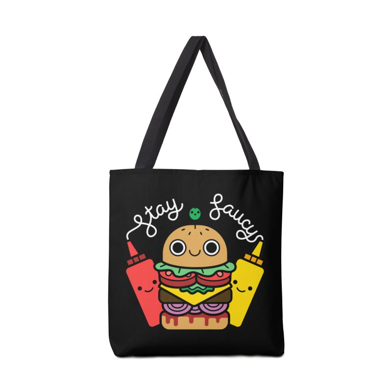 Stay Saucy (color on black) Accessories Bag by Cheerfull Designs