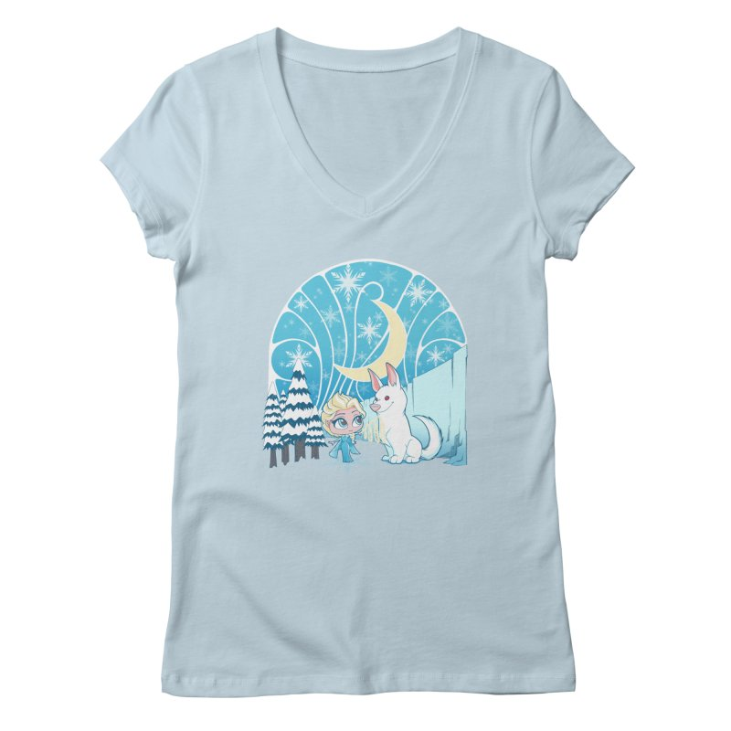 Would you like to make a snowdog? Women's V-Neck by cherished