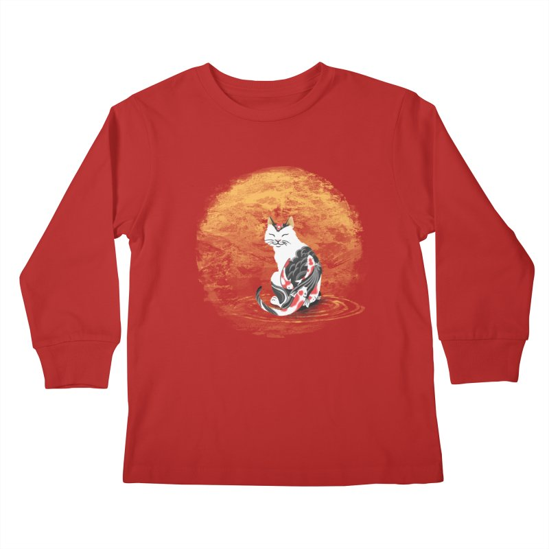 Yakuza Cat Kids Longsleeve T-Shirt by cherished