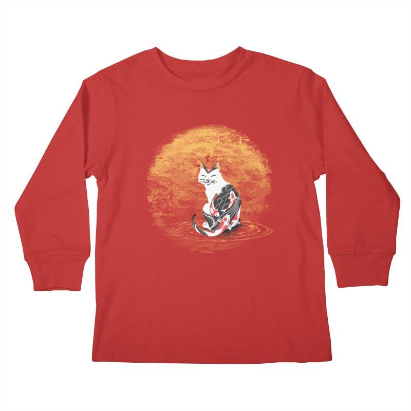 Yakuza Cat Kids Longsleeve T-Shirt by cherished