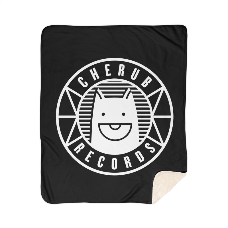 Cherub Circle Logo Reverse Home Sherpa Blanket Blanket by The Cherub Records Shop