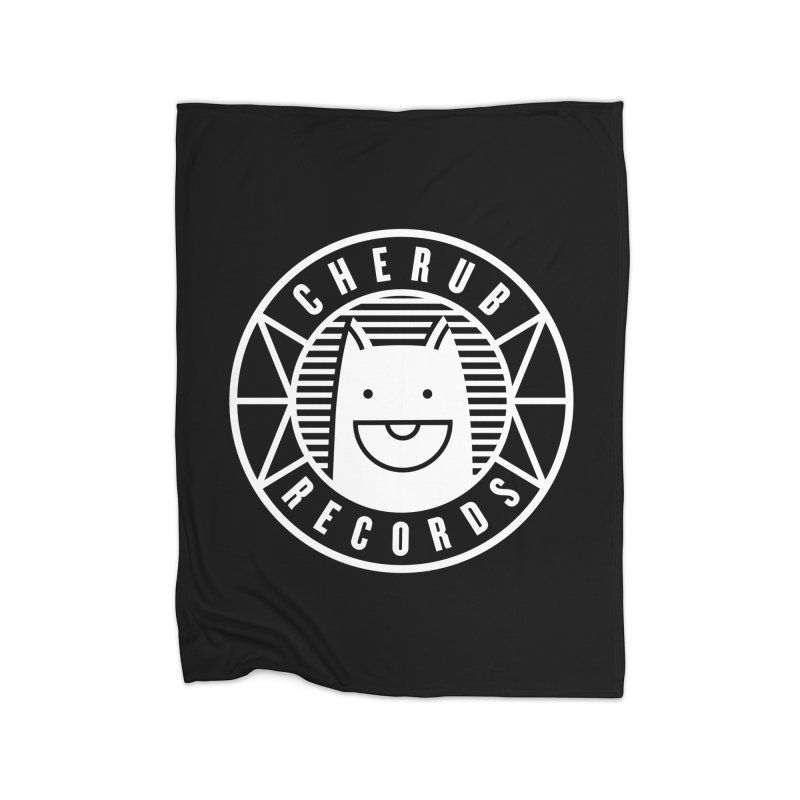 Cherub Circle Logo Reverse Home Fleece Blanket Blanket by The Cherub Records Shop