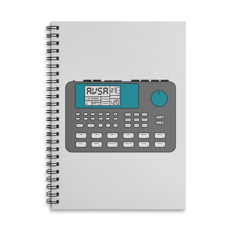 AVSA Drum Machine Accessories Lined Spiral Notebook by The Cherub Records Shop