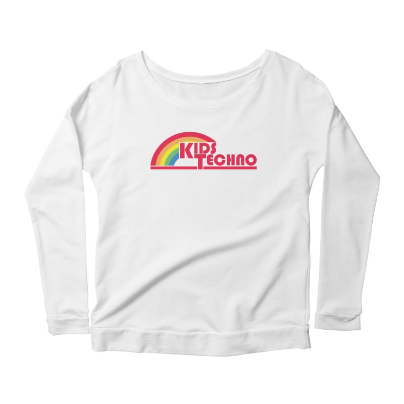 Kids Techno Rainbow Women's Scoop Neck Longsleeve T-Shirt by The Cherub Records Shop