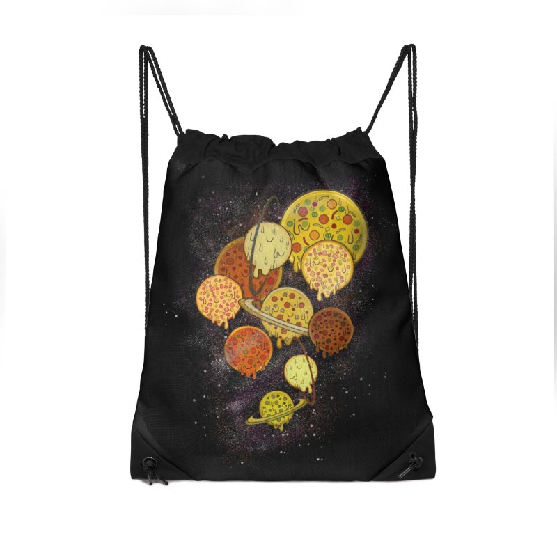 THE PLANETS OF PIZZA Accessories Drawstring Bag Bag by chevsy's Artist Shop