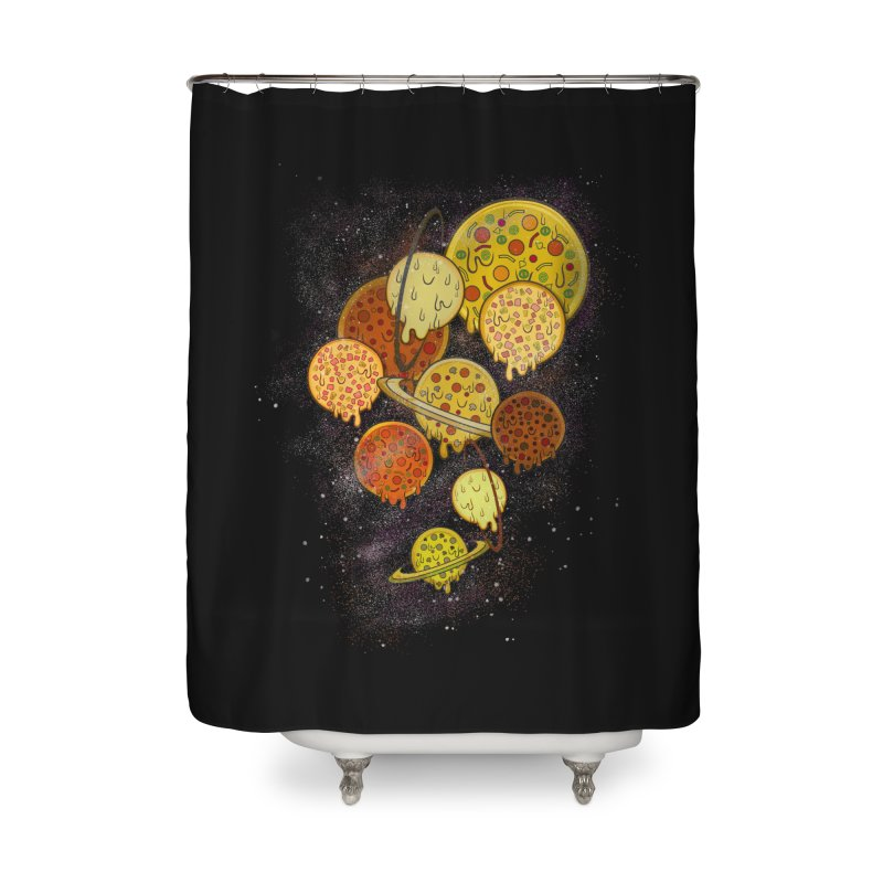 THE PLANETS OF PIZZA Home Shower Curtain by chevsy's Artist Shop