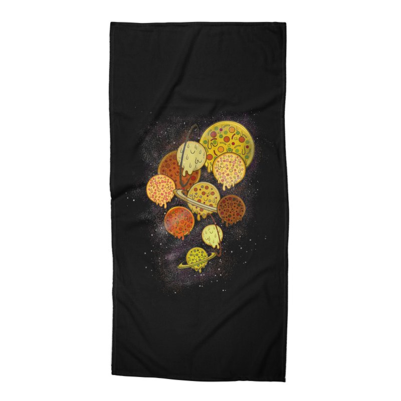 THE PLANETS OF PIZZA Accessories Beach Towel by chevsy's Artist Shop